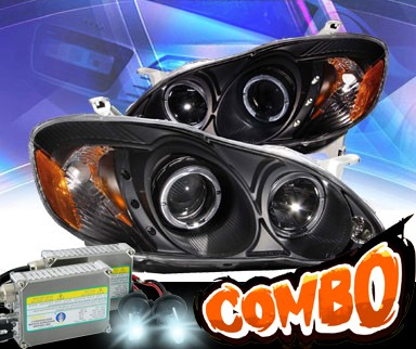 HID Xenon + KS® CCFL Halo LED Projector Headlights (Black) - 03-05 Toyota Corolla