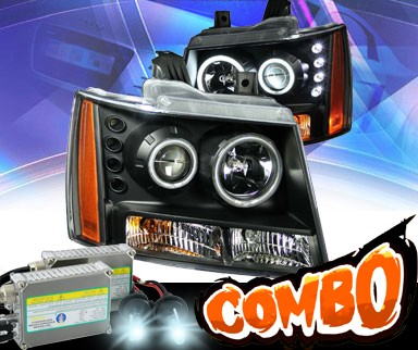 HID Xenon + KS® CCFL Halo LED Projector Headlights (Black) - 07-13 Chevy Avalanche