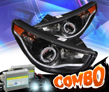 HID Xenon + KS® CCFL Halo LED Projector Headlights (Black) - 10-12 Hyundai Tucson