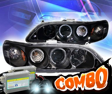 HID Xenon + KS® CCFL Halo LED Projector Headlights (Black) - 98-02 Honda Accord