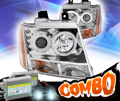 HID Xenon + KS® CCFL Halo LED Projector Headlights (Chrome) - 07-14 Chevy Avalanche