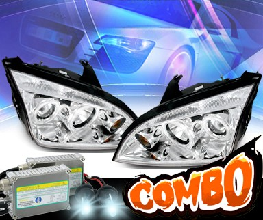 HID Xenon + KS® CCFL Halo Projector Headlights - 05-07 Ford Focus ZX4 4dr.