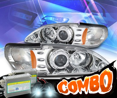 HID Xenon + KS® CCFL Halo Projector Headlights  - 94-98 Ford Mustang