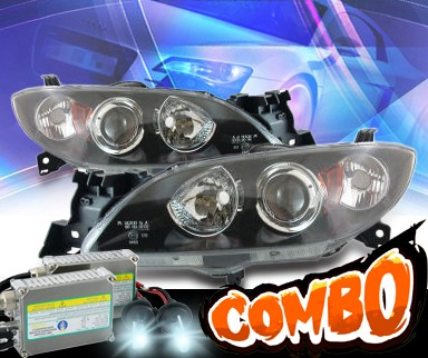 HID Xenon + KS® CCFL Halo Projector Headlights (Black) - 04-07 Mazda 3 Sedan
