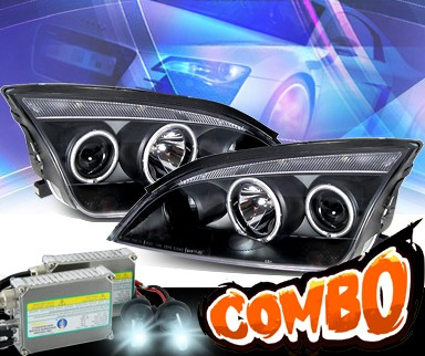 HID Xenon + KS® CCFL Halo Projector Headlights (Black) - 05-07 Ford Focus ZX4 4dr.
