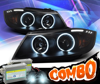 HID Xenon + KS® CCFL Halo Projector Headlights (Black) - 06-08 BMW 323i 4dr E90