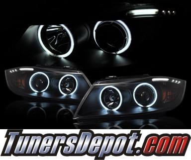HID Xenon + KS® CCFL Halo Projector Headlights (Black) - 06-08 BMW 325i 4dr Wagon E91