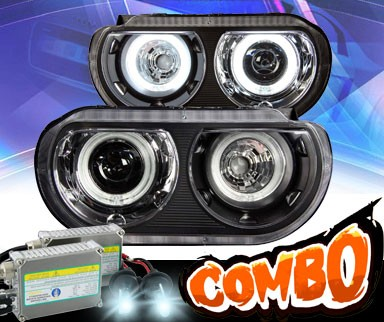 HID Xenon + KS® CCFL Halo Projector Headlights (Black) - 08-13 Dodge Challenger
