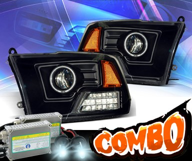 HID Xenon + KS® CCFL Halo Projector Headlights (Black) - 09-12 Dodge Ram Pickup
