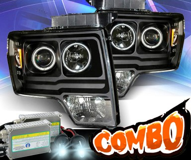 HID Xenon + KS® CCFL Halo Projector Headlights (Black) - 09-13 Ford F150 F-150