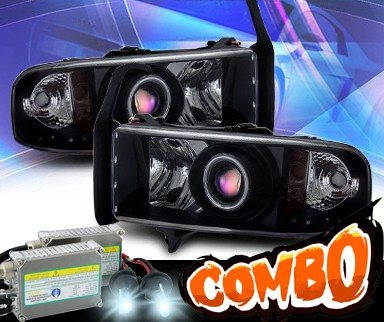 HID Xenon + KS® CCFL Halo Projector Headlights (Black) - 94-01 Dodge Ram 2500 / 3500 Pickup