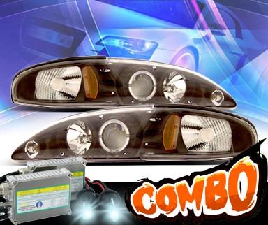 HID Xenon + KS® CCFL Halo Projector Headlights (Black) - 94-98 Ford Mustang
