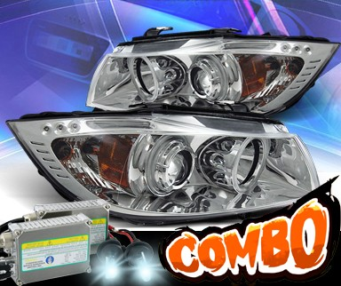 HID Xenon + KS® CCFL Halo Projector Headlights (Chrome) - 06-08 BMW 323i 4dr E90