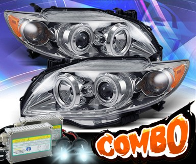HID Xenon + KS® CCFL Halo Projector Headlights (Chrome) - 09-10 Toyota Corolla