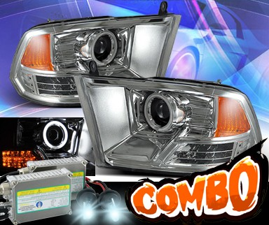 HID Xenon + KS® CCFL Halo Projector Headlights (Chrome) - 09-12 Dodge Ram Pickup