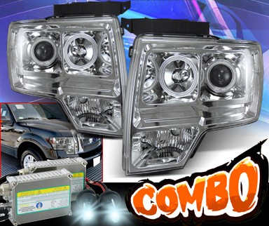 HID Xenon + KS® CCFL Halo Projector Headlights (Chrome) - 09-13 Ford F150 F-150