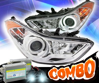 HID Xenon + KS® CCFL Halo Projector Headlights (Chrome) - 11-13 Hyundai Elatra