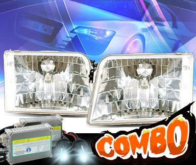 For 93-97 Ford Ranger 6000K Hid Xenon Euro Chrome Crystal Headlights Headlamp KS