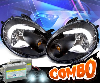 HID Xenon + KS® Crystal Headlights (Black) - 03-05 Dodge Neon