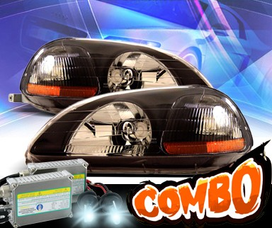 HID Xenon + KS® Crystal Headlights (Black) - 96-98 Honda Civic 2/3/4dr.