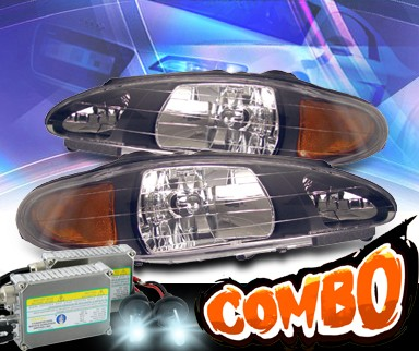 HID Xenon + KS® Crystal Headlights (Black) - 97-02 Ford Escort
