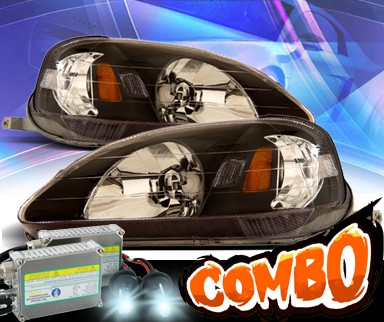 HID Xenon + KS® Crystal Headlights (Black) - 99-00 Honda Civic 2/3/4dr.