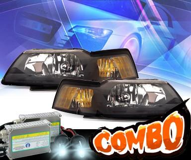 HID Xenon + KS® Crystal Headlights (Black) - 99-04 Ford Mustang