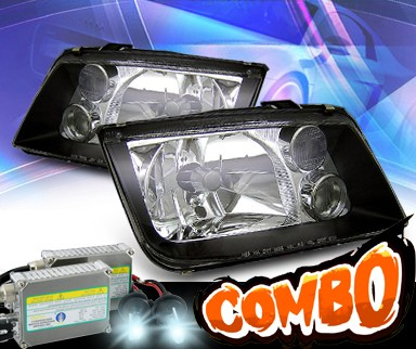 HID Xenon + KS® Crystal Headlights (Black) - 99-04 VW Volkswagen Jetta IV