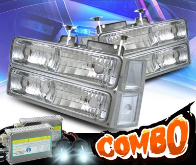 HID Xenon + KS® Crystal Headlights + Corner + Parking Light Set - 94-99 Chevy Tahoe Full Size