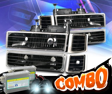 HID Xenon + KS® Crystal Headlights +Corner +Parking Light Set (Black) - 94-99 Chevy Tahoe Full Size