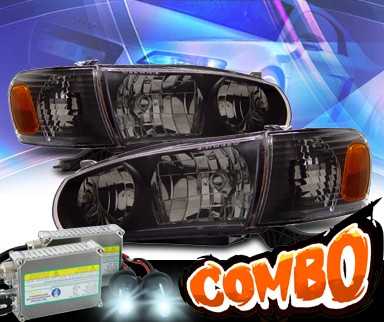 HID Xenon + KS® Crystal Headlights + Corner Set (Black) - 01-02 Toyota Corolla