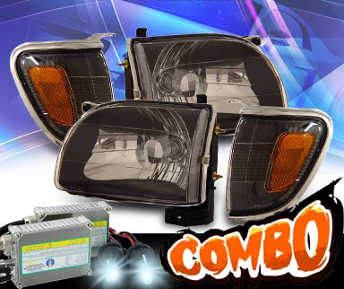 HID Xenon + KS® Crystal Headlights + Corner Set (Black) - 01-04 Toyota Tacoma