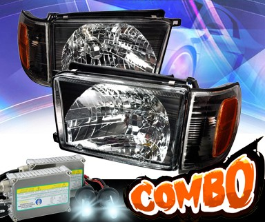 HID Xenon + KS® Crystal Headlights + Corner Set (Black) - 99-02 Toyota 4Runner