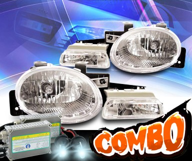 HID Xenon + KS® Crystal Headlights + Parking Light Set  - 95-99 Dodge Neon