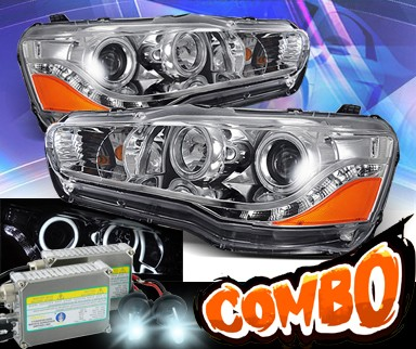 HID Xenon + KS® DRL LED CCFL Halo Projector Headlights - 08-13 Mitsubishi Lancer (w/o Stock HID)