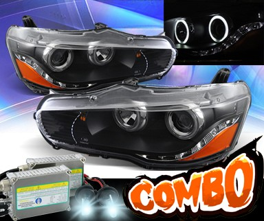 HID Xenon + KS® DRL LED CCFL Halo Projector Headlights (Black) - 08-13 Mitsubishi Lancer Evolution EVO X (w/o Stock HID)