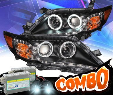 HID Xenon + KS® DRL LED CCFL Halo Projector Headlights (Black) - 10-11 Toyota Camry