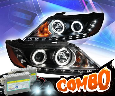HID Xenon + KS® DRL LED CCFL Halo Projector Headlights (Black) - 11-13 Kia Sorento