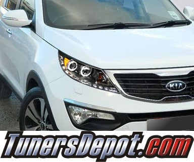 HID Xenon + KS® DRL LED CCFL Halo Projector Headlights (Black) - 11-13 Kia Sportage
