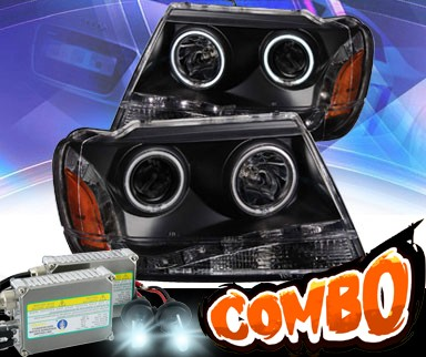 HID Xenon + KS® DRL LED CCFL Halo Projector Headlights (Black) - 99-04 Jeep Grand Cherokee