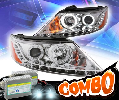 HID Xenon + KS® DRL LED CCFL Halo Projector Headlights (Chrome) - 11-13 Kia Sorento