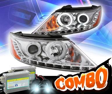 Set of Pair Black Halo Headlights w// LED Parking light for 2011-2013 Kia Sorento
