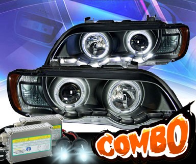 HID Xenon + KS® DRL LED Halo Projector Headlights (Black) - 00-03 BMW X5 E53