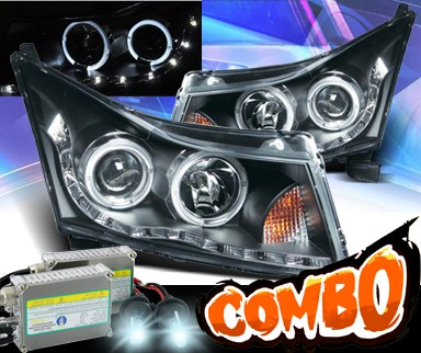 HID Xenon + KS® DRL LED Halo Projector Headlights (Black) - 11-15 Chevy Cruze