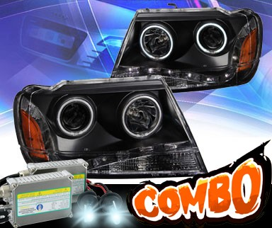 HID Xenon + KS® DRL LED Halo Projector Headlights (Black) - 99-04 Jeep Grand Cherokee
