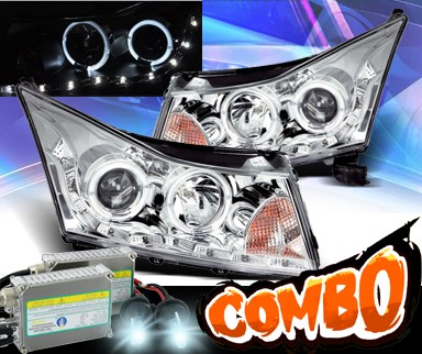 HID Xenon + KS® DRL LED Halo Projector Headlights (Chrome) - 11-13 Chevy Cruze