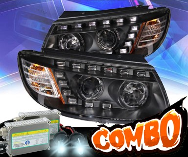 HID Xenon + KS® DRL LED Projector Headlights (Black) - 07-12 Hyundai Santa Fe