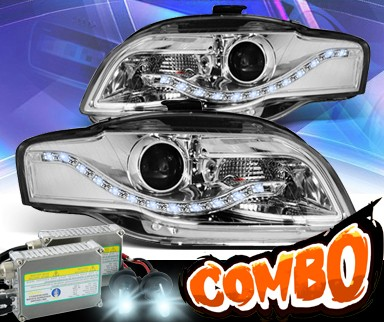 HID Xenon + KS® DRL LED Projector Headlights (Chrome) - 06-08 Audi S4 (w/o Stock HID)