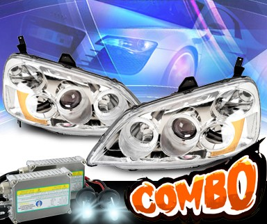 HID Xenon + KS® Halo Projector Headlights - 01-03 Honda Civic 2/4dr.