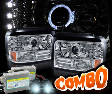 HID Xenon + KS® Halo Projector Headlights - 92-96 Ford F450 F-450